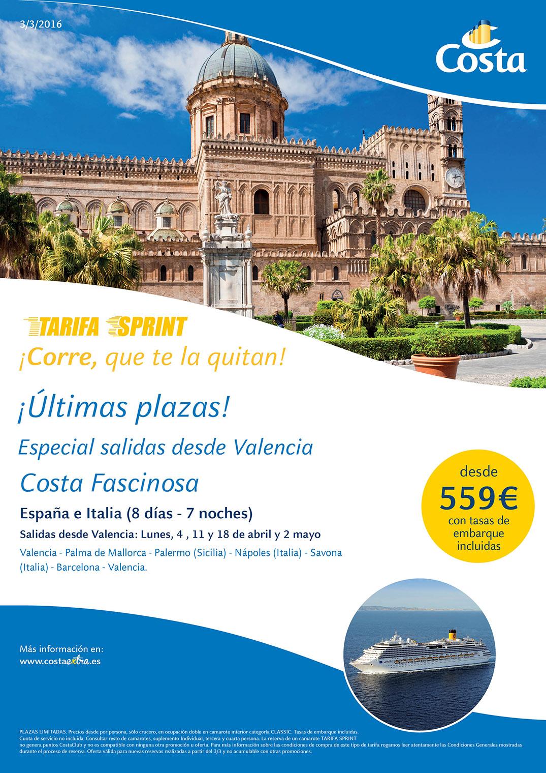 oferta Costa cruceros de Valencia y Barcelona