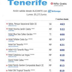 oferta Tenerife vuelos directos desde Alicante  7 noches